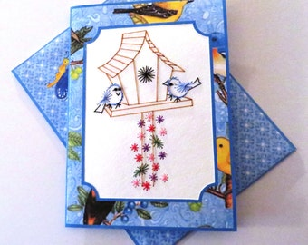 Handmade stitched birdhouse birthday card.