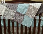 Baby Crib Bedding- Gray Buck, Gray Arrow, and Herringbone Crib Baby Bedding Ensemble - Woodland, Deer, Boy, Girl