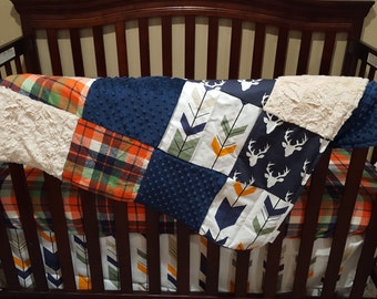 Baby Boy Crib Bedding - Navy Buck, Orange Navy Plaid, Navy Orange Fletching Arrow, Navy Minky, and Ivory Crushed Crib Baby Bedding Ensemble