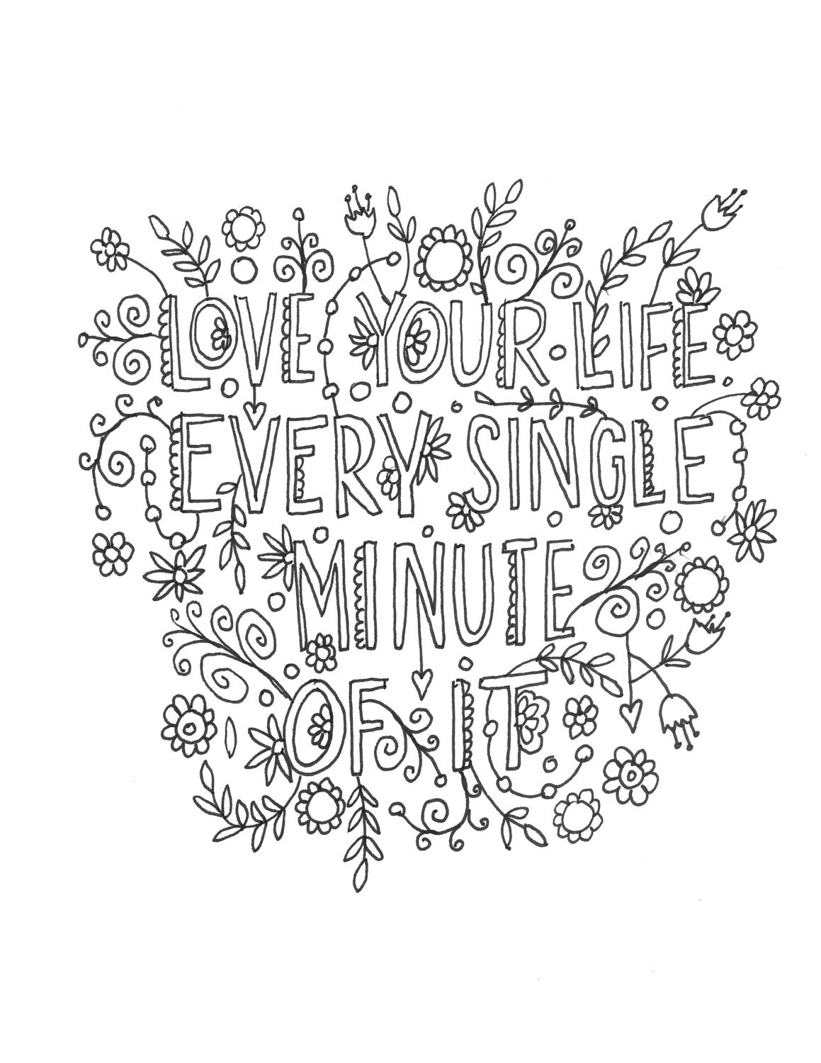 Quote Coloring Page INSTANT DOWNLOAD Line Art By Mollymattin