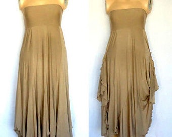 Beige Cotton Strapless Beach evening long maxi Sun dress Beige Fashion Maxi Dress Off the Shoulder Layered Cotton Elastane Asymmetric Skirt.