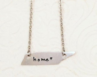 Tennessee Necklace - State Home Hand Stamped Jewelry - Tennessee Necklace - Tennessee State Necklace - Tennessee Home Necklace