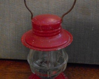 Vintage Red Lantern Candy Holder, Victory Glass Company