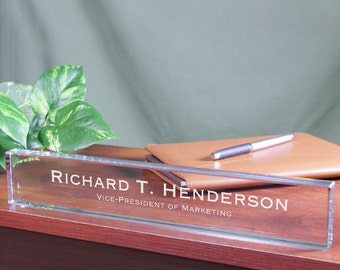 Personalized Engraved Executive Name Plate New Job Promotion Graduation Gift