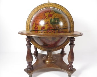 Vintage Italy Wood Olde World Globe - Table Top World Globe on Wood Stand