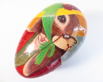 Vintage German Cardboard Easter Egg - Western Germany Paper Mache Easter Candy Container