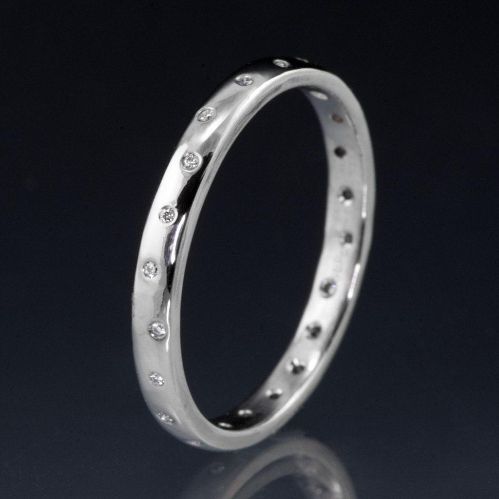 Narrow 20 Diamond Wedding Ring In Sterling Silver Palladium