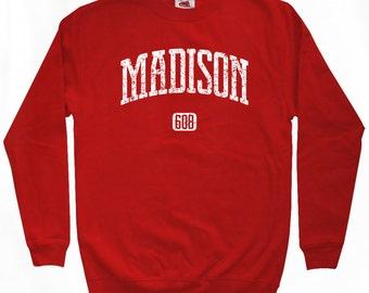 Madison 608 Wisconsin Sweatshirt - Men S M L XL 2x 3x - Wisconsin Crewneck - 4 Colors