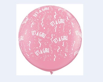 Giant Pink Balloon It's a Girl / It's a Boy printed in white letters for Baby Showers, Gender Reveals.