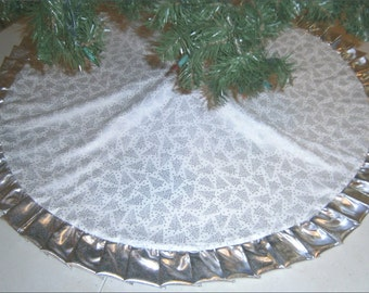 "Christmas Tree Skirt - 47"" - White with Silver Metallic Trees with Metallic Ruffle"