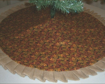 "Fall / Autumn Tree Skirt - 47"" - Sparkly Leaves with Burlap Ruffle"