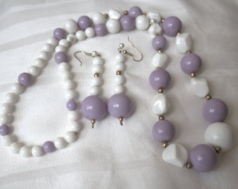 Purple and White VIntage Lucite Necklace and Earrings