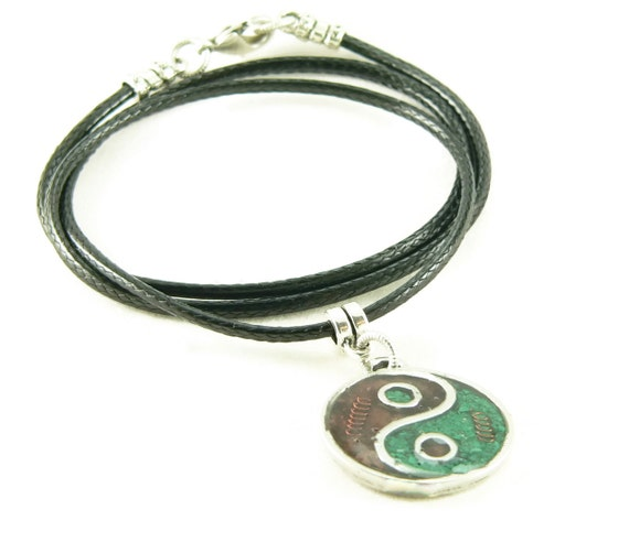 Orgone Energy Small Yin-Yang Pendant Necklace in Garnet and Malachite with Vegan Leather Cord - Red and Green - Artisan Jewelry