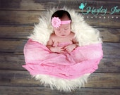 Pink Rosette Headband...Newborn Headband...Baby Girl Headband...Baby Bows...Photo Prop...Rosette...Pink...Little Girl Headband