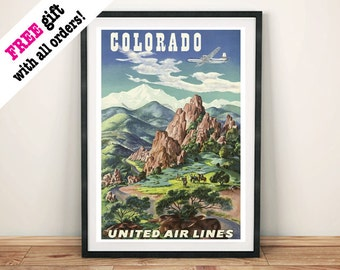 COLORADO POSTER: Vintage American Travel Advert Art Print Wall Hanging