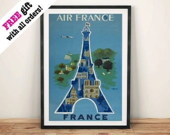 PARIS TRAVEL POSTER: Vintage French Eiffel Tower Advert, Art Print Wall Hanging