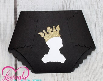 Little Prince Diaper Invitations in The Colors of Your Choice, Shown in Black & Glitter Gold - Set of 10