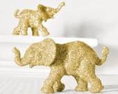 Gold Glittered Elephants Wedding Cake Topper, Safari Baby Shower Decorations, Jungle Nursery Decor, Boy Girl Circus Birthdays. Set of 2
