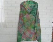 Vtg hand dyed large square silk scarf