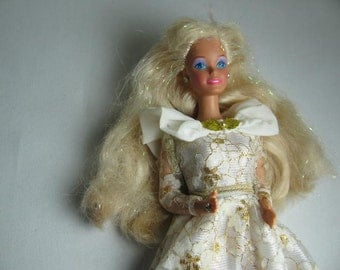 Super Star Barbie in white and gold evening gown with ring and earrings