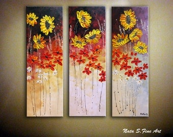 "Sunflower Painting Triptych Original Abstract Textured Painting on Canvas Modern Home & Office Decor Large Artwork 36"" x 36""  by Nata S."
