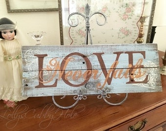 Pallet Sign Love Never Fails Rustic Turquoise Blue Love Wedding Scripture Sign Wall Hanging
