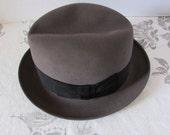 Vintage 60's Dobbs Fedora Felt Fur Grosgrain ribbon retro high fashion New York Haberdashery
