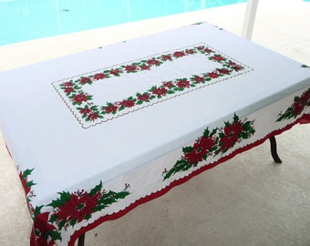 """Large 84 x 60"""" Vintage 50/50 Christmas Holiday Tablecloth on Etsy by FUNNYFARMS"""