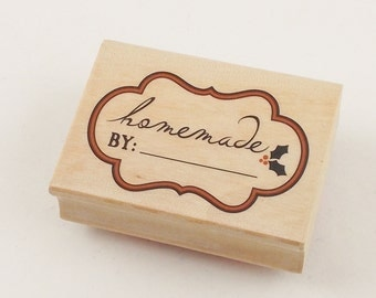 Brand New Stamp, Handmade by (Blank), Christmas Holly - 2 1/4 x 1 1/2 Rubber Stamp for Tags, Cards, Papercrafting, Paper supplies