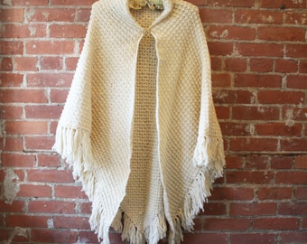 70s Boho Crochet Cream Fringe Poncho with Vintage Brooch