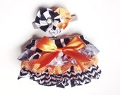 Halloween Baby Girl Bloomer-vintage halloween-Halloween diaper cover-black grey and orange-ruffle diaper cover-Fall Bloomer-shabby chic