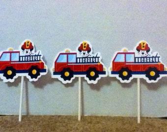Cute Firetruck Cupcake Toppers