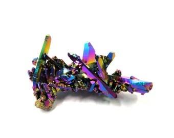 Titanium Rainbow Aura Quartz Crystal Specimen 38mm x 25mm x 18mm Raw Stone Cluster (Lot 1186) Iridescent Rainbow