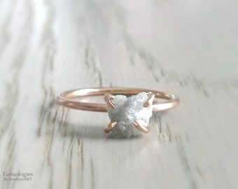 Raw Diamond Ring, Heart Shaped Diamond Engagement Ring or Wedding Ring, Valentines Day for Her, Diamond in Rose Gold, Anniversary for Wife