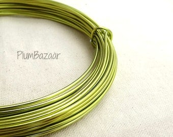 Aluminum wire for jewelry and crafts, 2mm 12 gauge round, apple green color, 39 foot coil