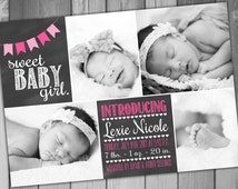 Birth Announcement Baby Announcement Baby Girl Announcement Baby Boy Announcement Printable Birth Photo Birth Chalkboard Baby Photo Announce