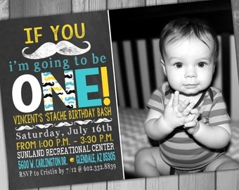 Mustache Birthday Invitation Moustache Party Boy Birthday 1st Birthday First Birthday Boy Blue and Yellow Baby Boy First Birthday Invitation