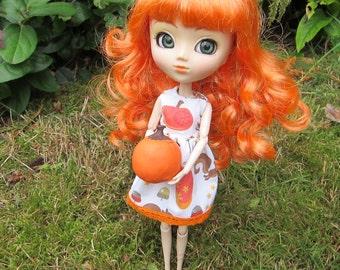 Fall Pumpkin Dress for Blythe or Pullip Dolls with Squirrel, Leaf & Acorn Print