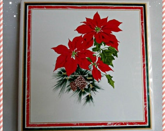 Russ Berrie Christmas Crimson Poinsettia Collection Ceramic Trivet Vintage