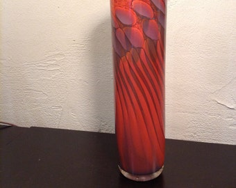 Studio Art Glass Sculptural Cylinder Vase By Steven Main