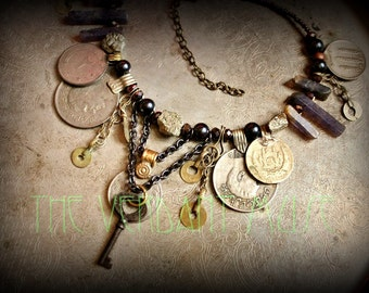 Tribal Assemblage Necklace- Chunky Raw Pyrite, Purple Iolite, Iron Key & Kuchi Coin Necklace