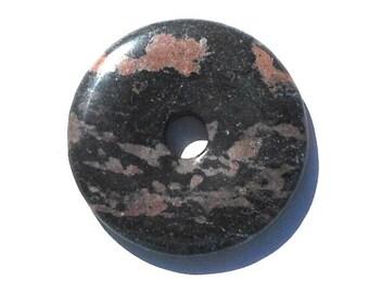 40mm Natural Black Rhodonite Stone, Donut Pendant, Matte Black, Muted Pinks, Some Gray, Beading Supply, Craft Beads, DIY