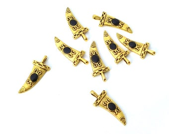 8 Gold Plated Fancy Claw Charms, Black Dot, Single Sided, Small Pendants, 27mm, Beading Supplies, Craft Charms, Unisex