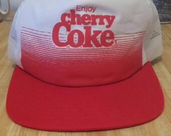 Cherry Coke Vintage Snapback Trucker Hat