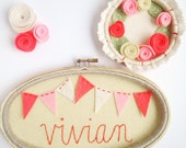 Personalized Name Sign - Embroidery Hoop Art - Felt Bunting