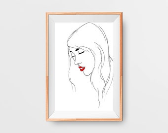 Red Lip Classic Art Print - Black, White, Red Minimalist Wall Art - Printable - Instant Download - 8x12