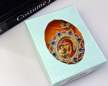 Russian Icon  Faberge style Christmas Ornament  Crystal Frame Virgin Mary #612
