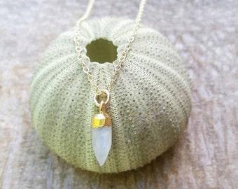 Dainty Moonstone Spike Gemstone Necklace - ocean jewelry, beach jewelry, gold layered necklace, minamalist necklace, aloha, hawaii, kauai