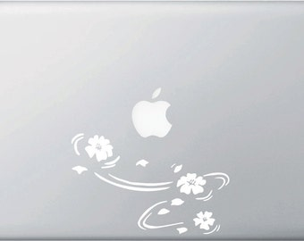 "MB - Floating Cherry Blossom - Sakura - Macbook or Laptop Vinyl Decal Sticker - © Yadda-Yadda Design Co. (5.75""w x 3.75""h)"