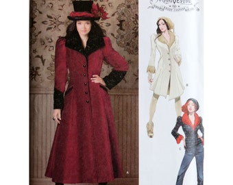 Steampunk Coat, Pattern, Simplicity 1732, Jacket Pattern, Arkivestry Collection, Long Coat with Cuffs, Fur Collar, Coat in Three Lengths